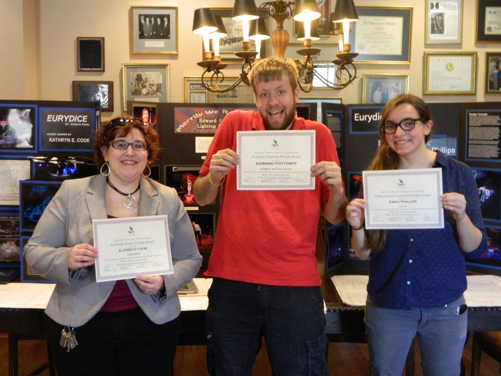 Katie Cook, Ed Pottorff, and Emily Phillips holding their SETC awards.