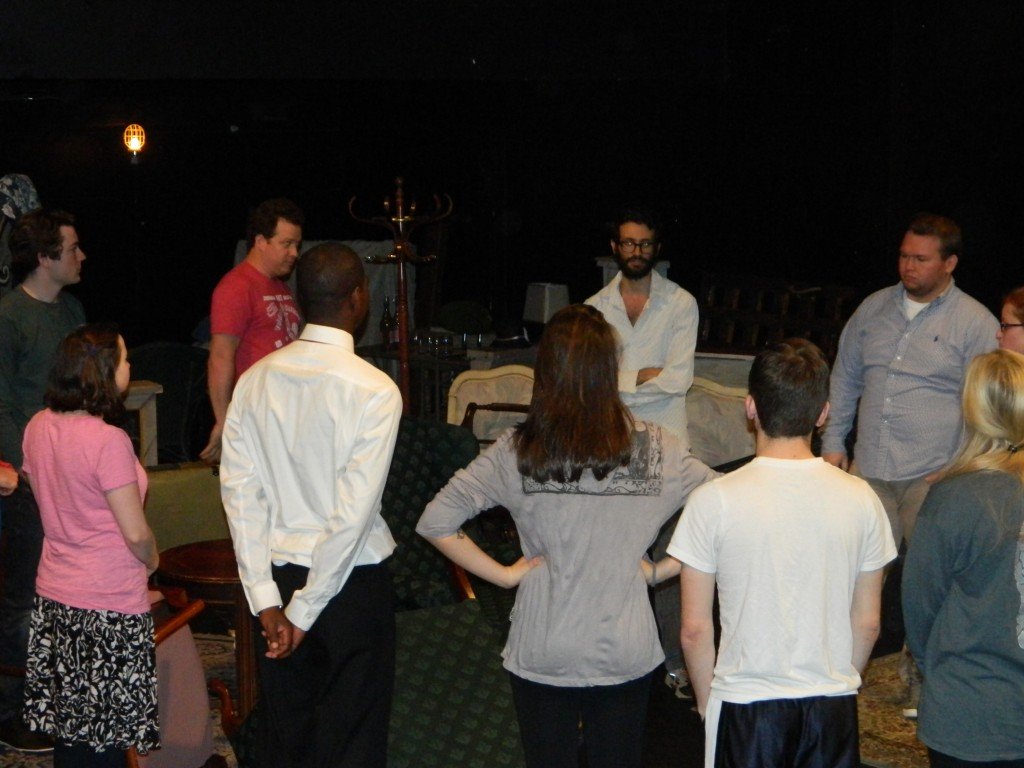 David directing the cast during rehearsal.
